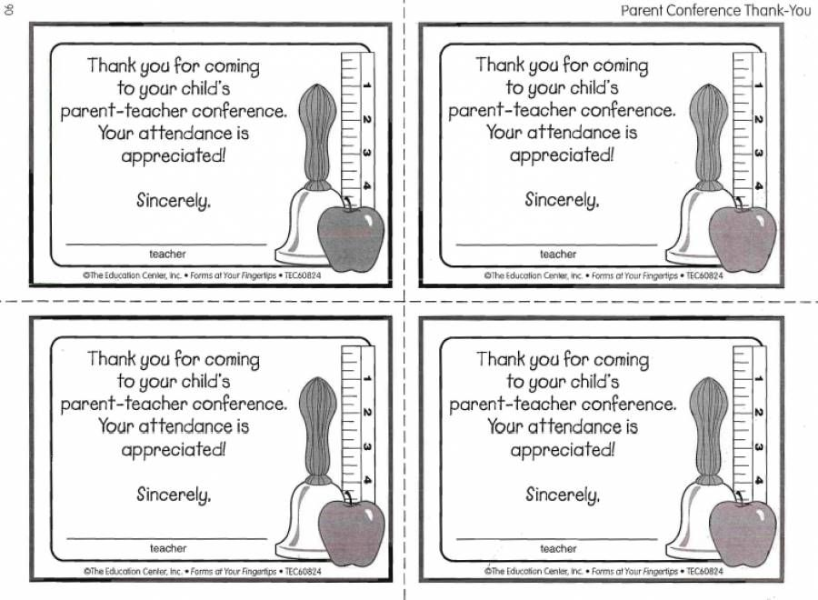 Parent Conference Thank You Notes Letter For Attending  Home