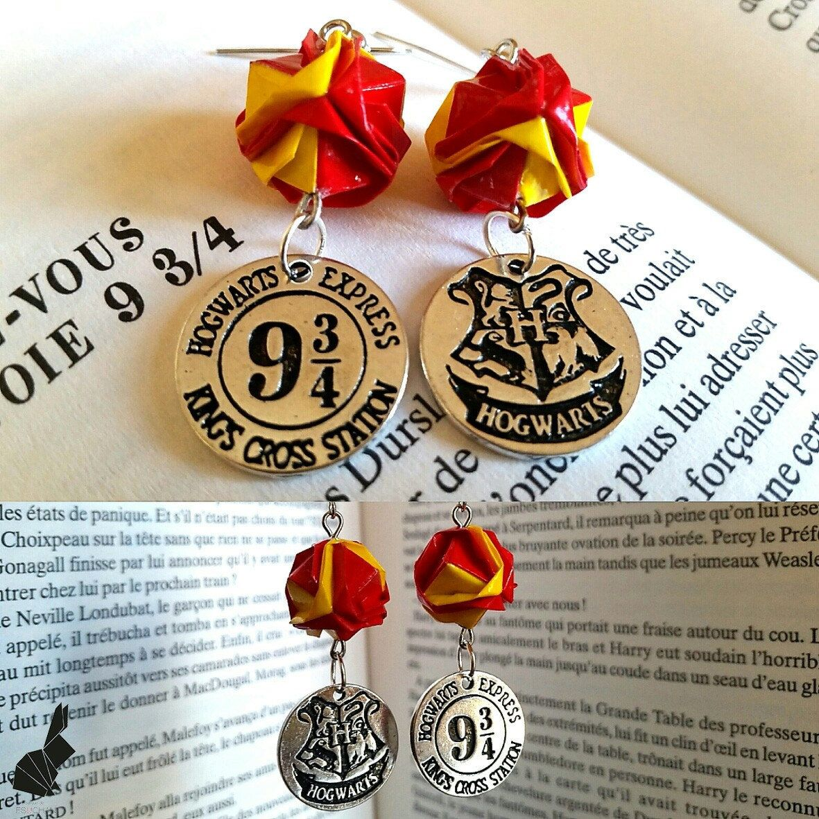 Harry Potter Origami Earrings With The Colors Of Gryffindor