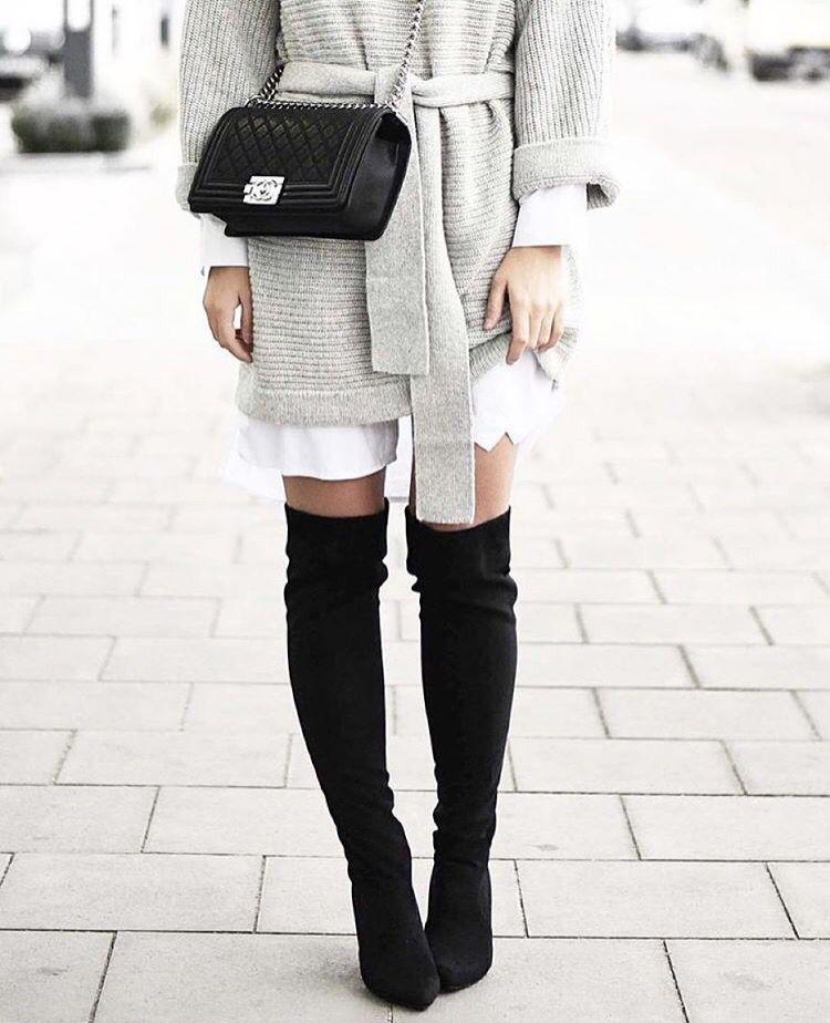 @shopstyle | Outfit, Overknee stiefel, Overknees