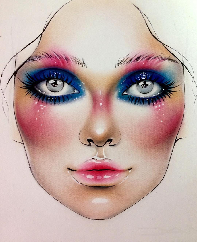 Goddess Leach Makeup face charts, Makeup charts, Face chart