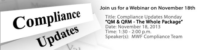 Join us Monday, November 18th from 1:30 - 2:00pm as our MWF Compliance Team discusses QM & QRM - The Whole Package 2 at our Compliance Updates Monday Webinar. Click the link to register: https://www2.gotomeeting.com/register/127074130 #mortgage #compliance #mountainwestfinancial