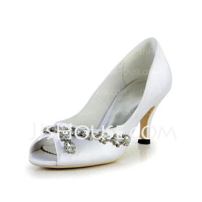 Wedding Shoes - $62.99 - Women's Silk Like Satin Cone Heel Peep Toe Sandals With Rhinestone (047030345) http://jjshouse.com/Women-S-Silk-Like-Satin-Cone-Heel-Peep-Toe-Sandals-With-Rhinestone-047030345-g30345