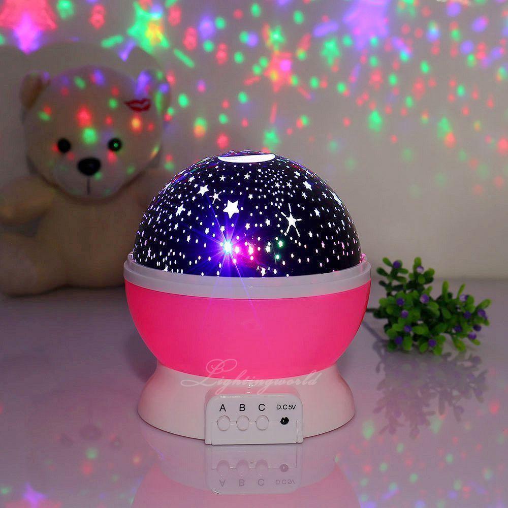 Romantic Night Light Children Sky Star Moon Projector Baby Lamp Kid Bedroom Night Light Kids Night Light Projector Star Lamp