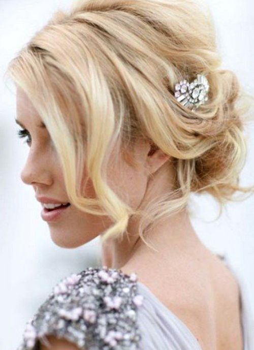 Wedding Hairstyles With Braids And Bangs : Messy low wedding hairstyles updos bun 2014 style with accessory