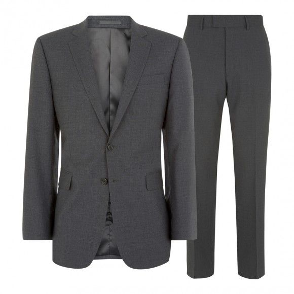 Two Piece Grey Plainweave Wool Suit