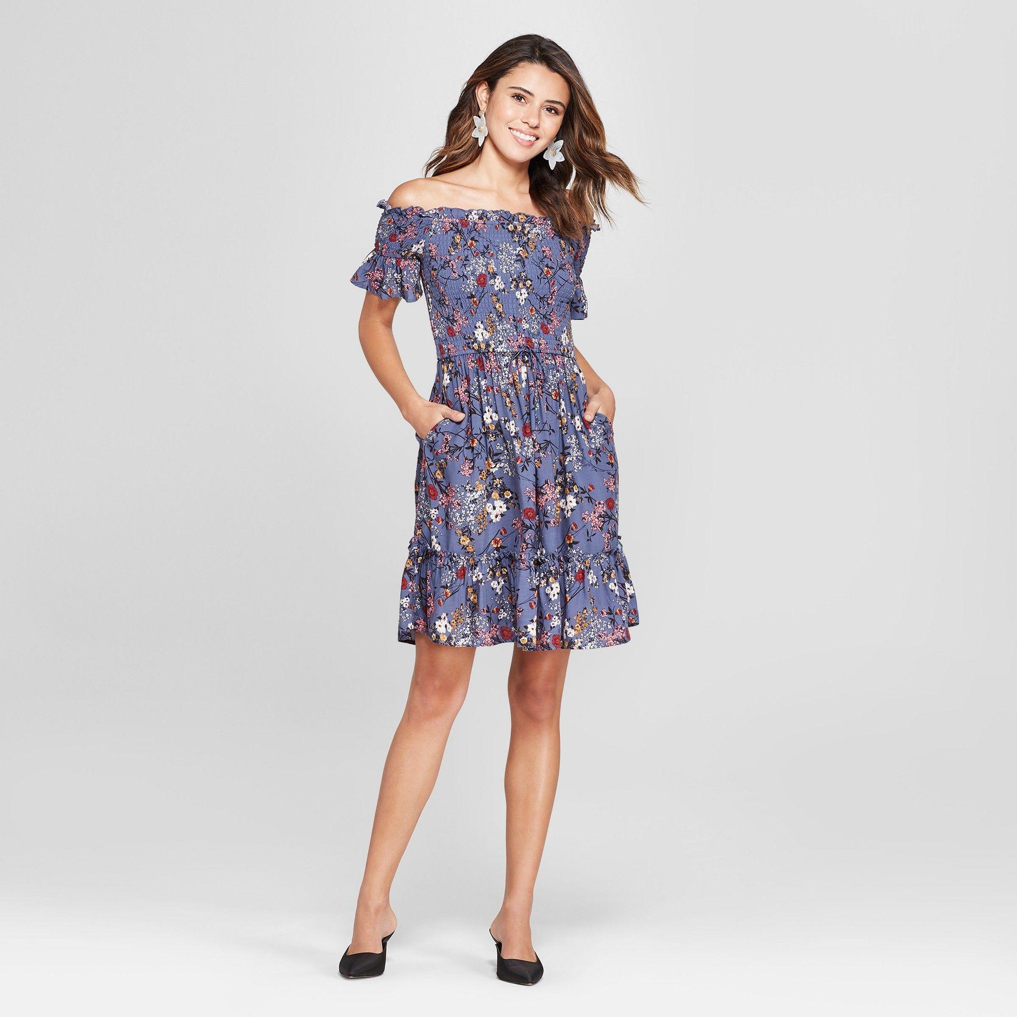 21e0380554 Women s Floral Print Short Sleeve Off the Shoulder Dress - Xhilaration Blue  Xxl