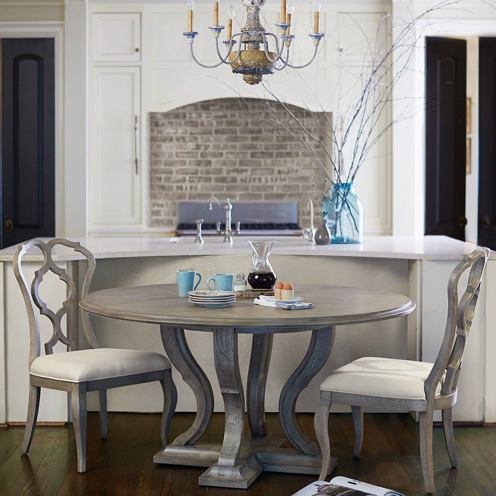 Marquesa Wood Round Dining Table In Gray Cashmere Round Wood