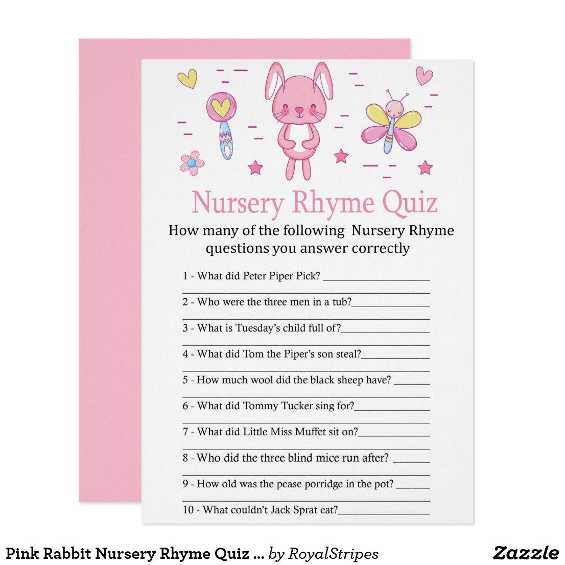 Pink Rabbit Nursery Rhyme Quiz baby shower game Invitation
