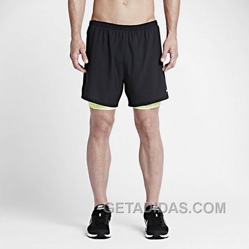 Nike 5 Phenom 2in1 SchwarzVolt  Running Shorts