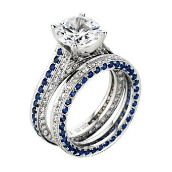 Chad Allison Blue Sapphire and Diamond Engagement Ring and Wedding
