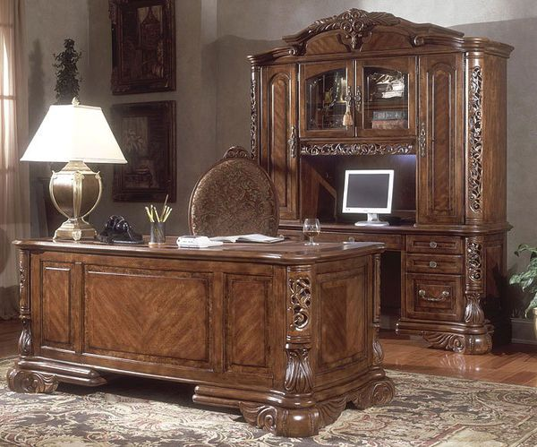 Traditional Ornate Home Office Executive Desk Set Vintage Home