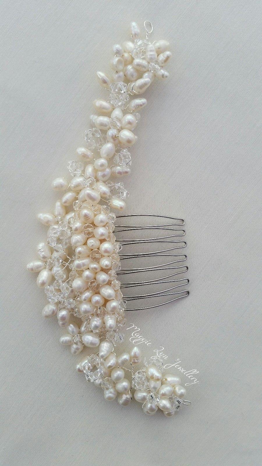 bridal hair comb slide, bun wrap, vine, freshwater pearls