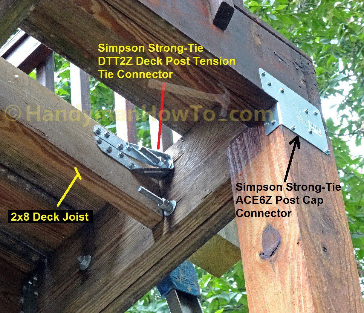 Build Deck Rail Simpson Strong Tie Dtt2z Deck Post Connector 1 2 Inch Bolts And Washers Deck Posts Deck Railings Building A Deck