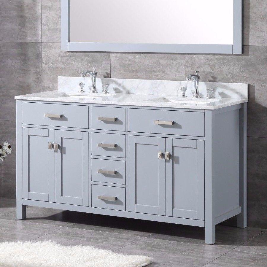 37% OFF - 60-inch High-End Grey Shaker Double Bathroom ...