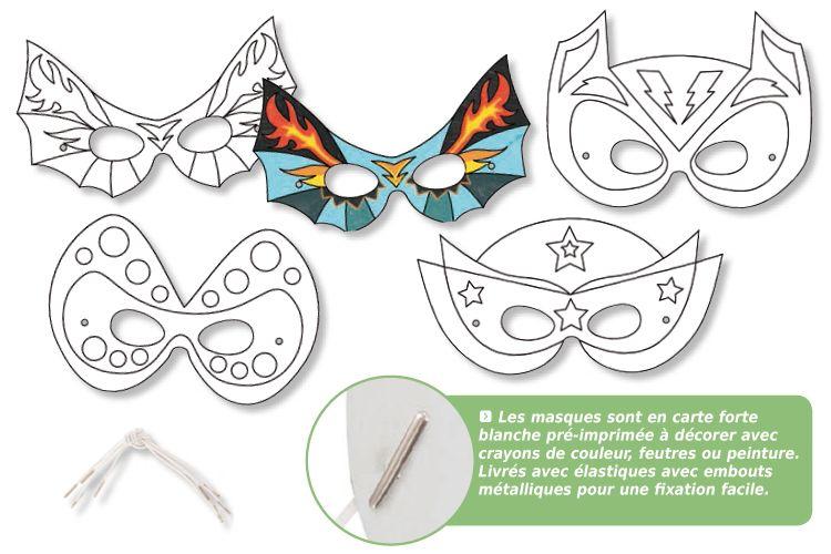 bonne vente de chaussures meilleure qualité texture nette Masques à colorier Super Héros - Set de 4 - Mardi gras ...