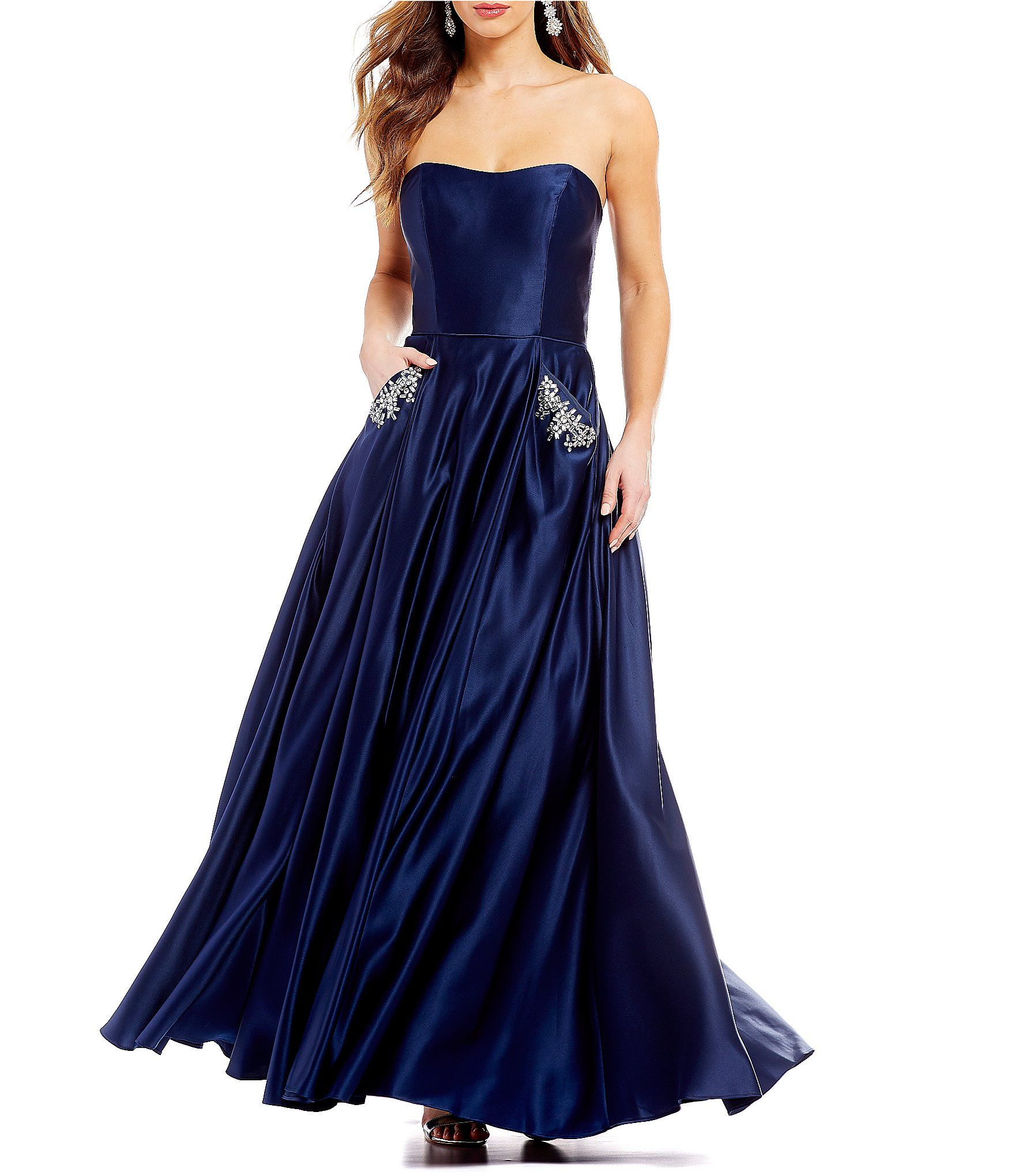07cf645bf2e Blondie Nites Strapless BeadedPocket Satin Ball Gown #Dillards ...