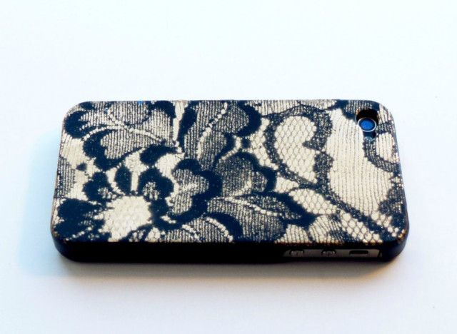 iPhone Case spray painted with lace pattern creates an elegant lace design.