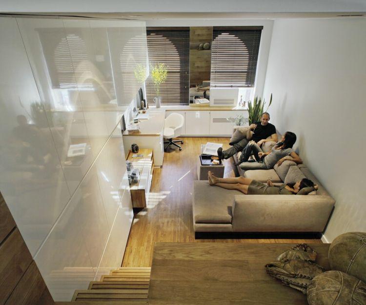 Wohnideen Wohnzimmer Klein wohnungseinrichtung ideen klein wohnung hochglanz weiss ecksofa