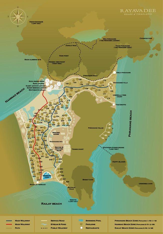 00 mapa rayavadee hotel krabi thai Pinterest Krabi Railay