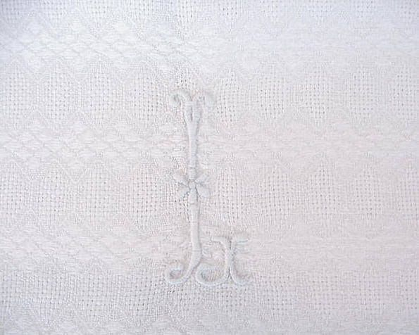 Vintage White Linen Towel Hand Embroidered Monogram  L