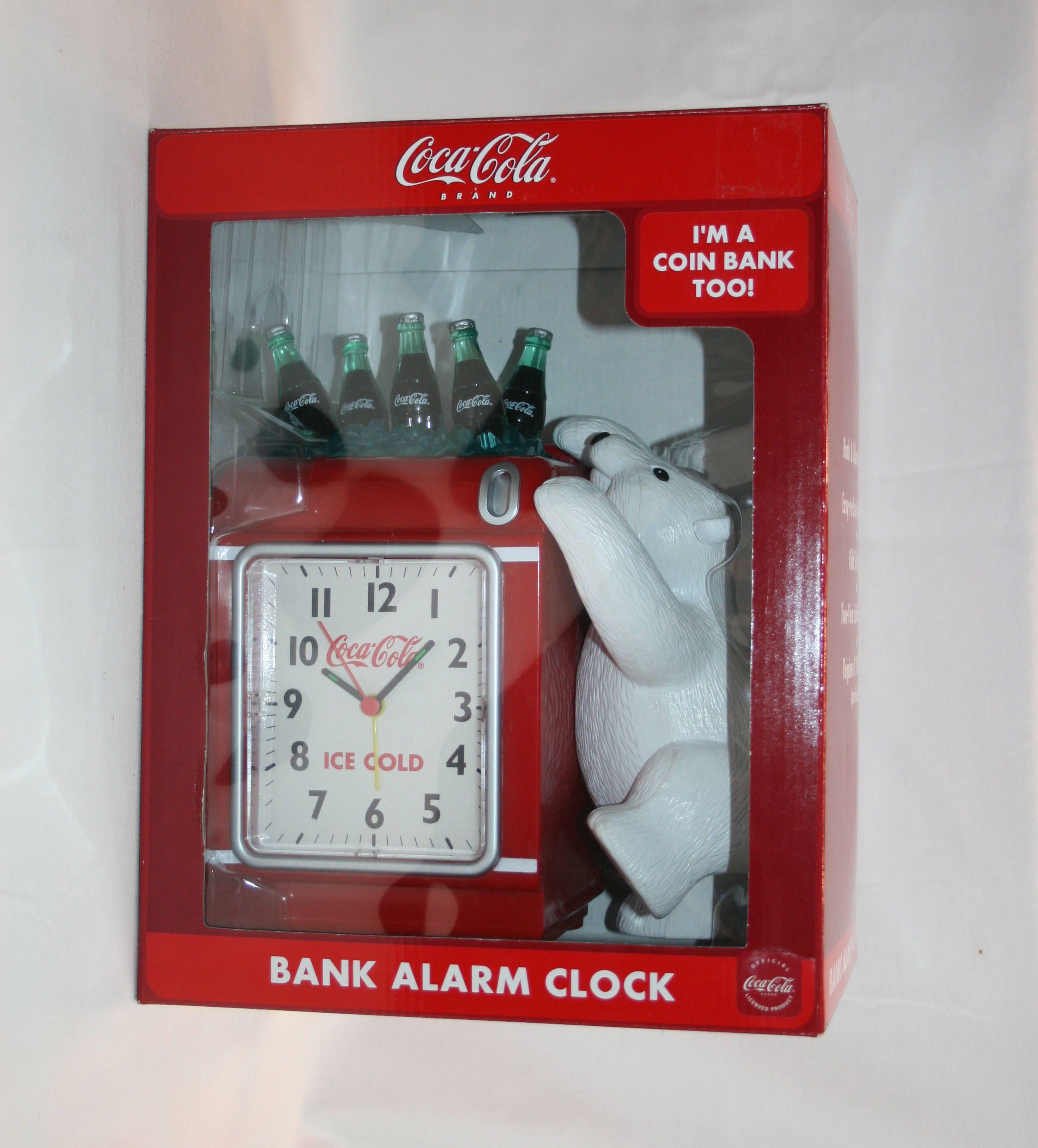 Vintage Coca Cola Polar Bear Cooler Bank And Alarm Clock