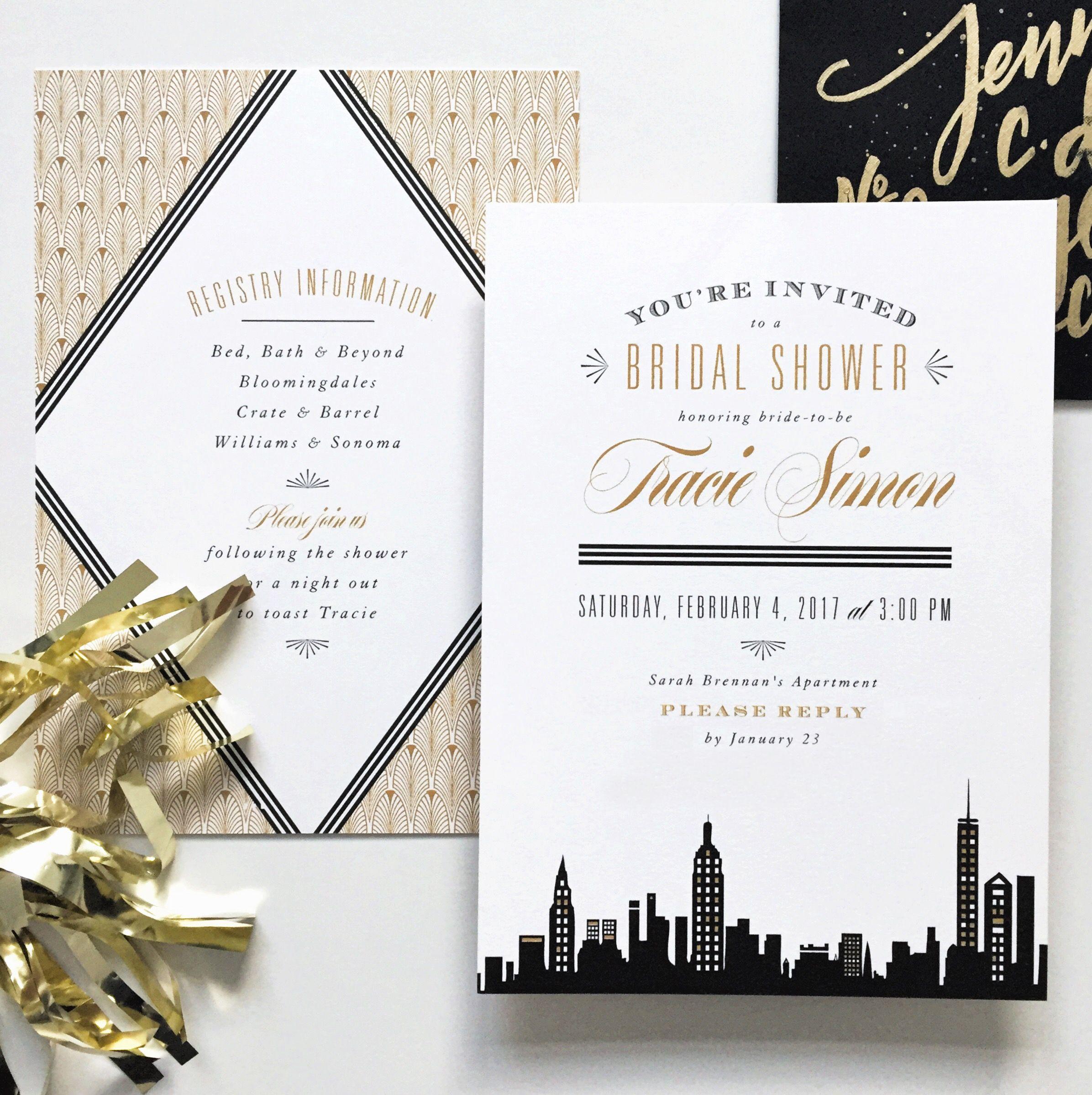 New York Invitation, Black And Gold Bridal Shower, Gatsby