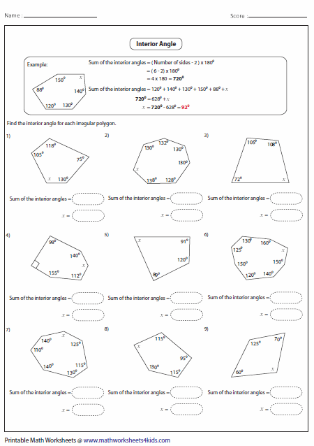 Interior Angle Of Irregular Polygon 2nd Grade Pinterest Math Worksheets And School