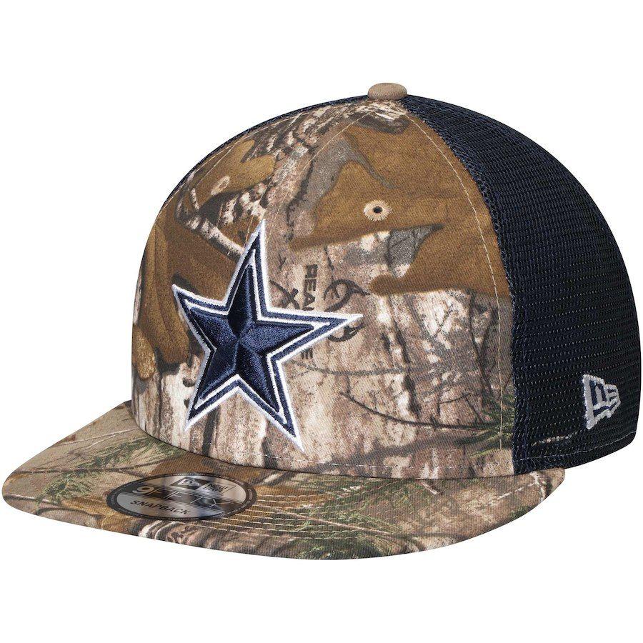 78b70e75324 Men s Dallas Cowboys New Era Realtree Camo Navy Trucker 9FIFTY Adjustable  Snapback Hat