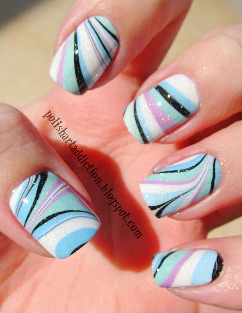 30 Super Cool Water Marble Nail Art Inpirations To Beautify Your Nail Fashion Nails Nail Designs Blue Nails