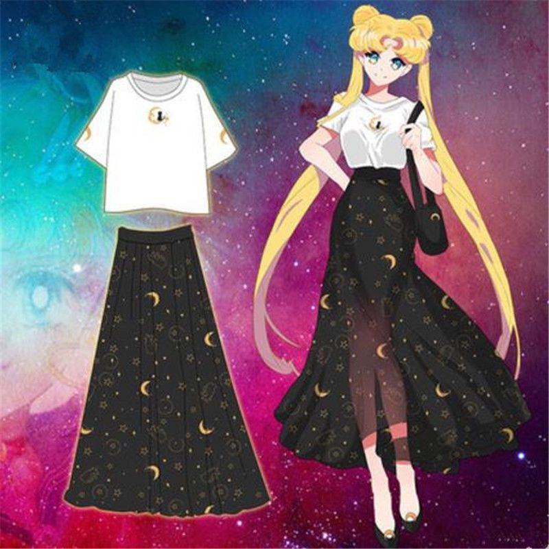 New Anime Sailor Moon Women Girl T-Shirt Long Dress Cosplay Costume Full Set