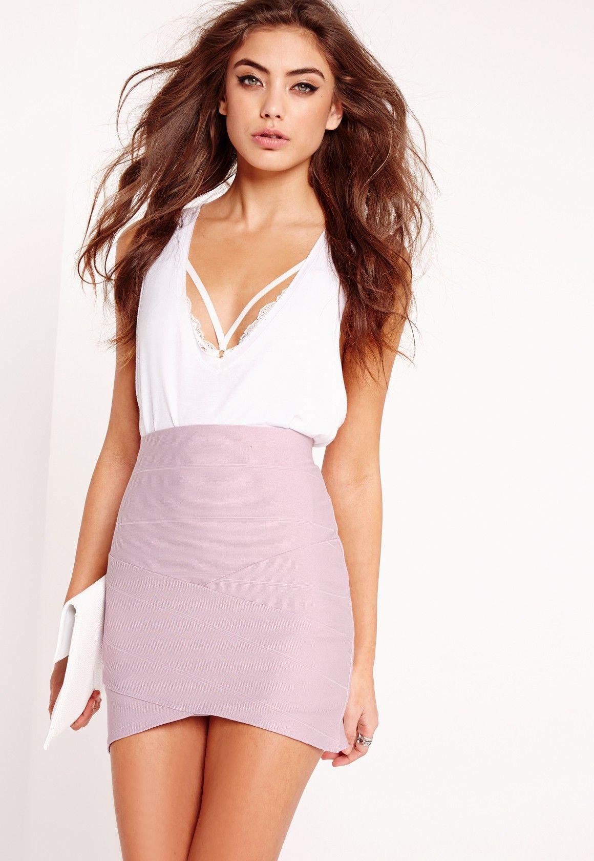 Missguided - Petite Asymmetric Bandage Mini Skirt Lilac  8218f3436
