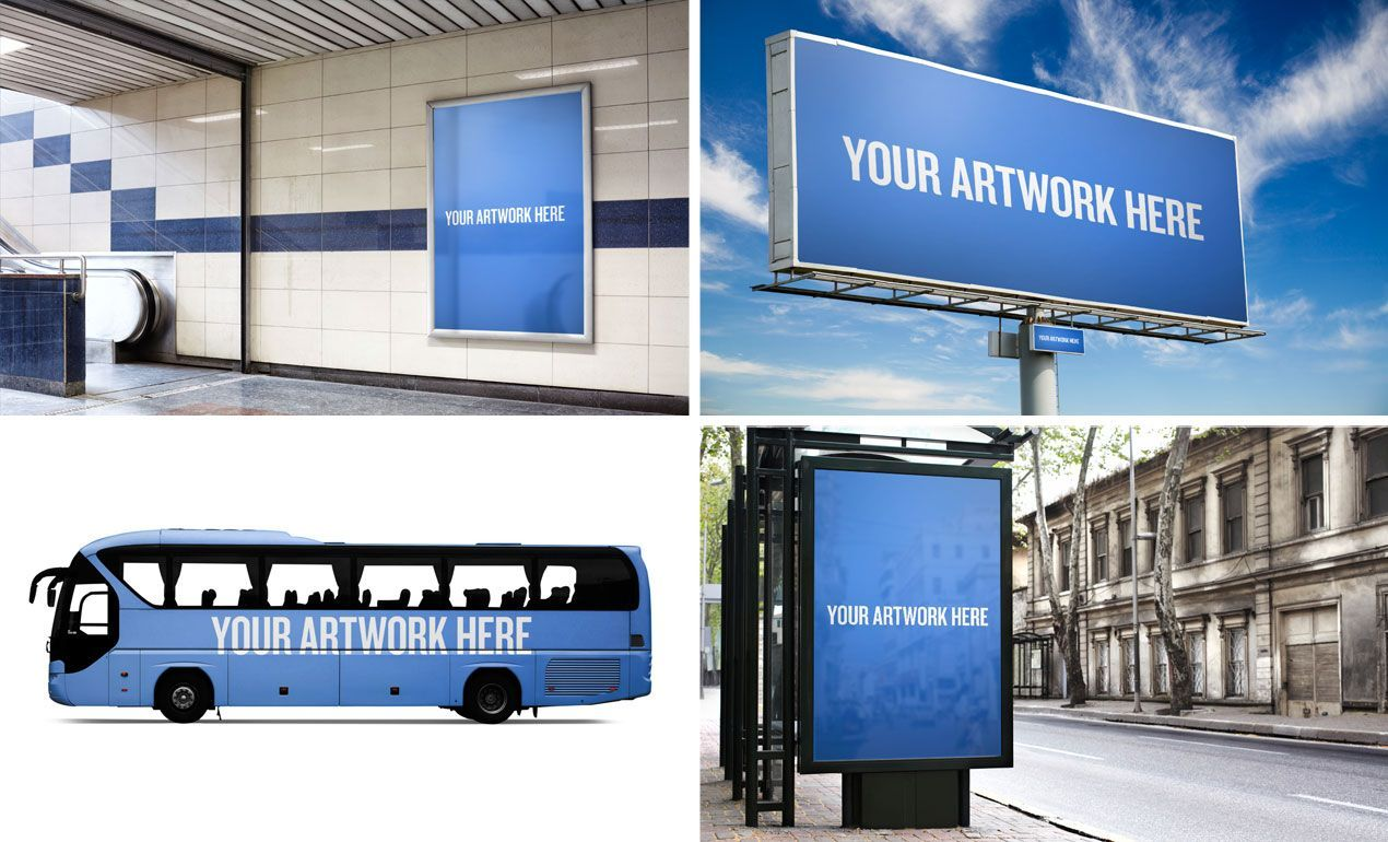 photoshop city advertising mockup templates pack includes a photoshop city advertising mockup templates pack includes a billboard bus stop ad bus wrap