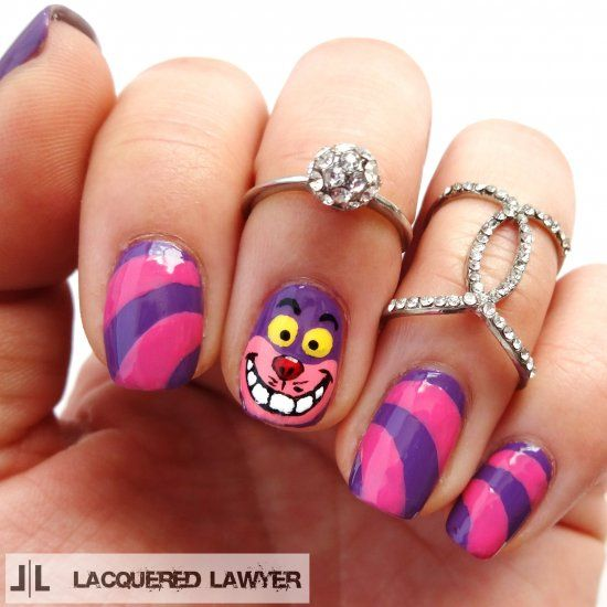 Learn how to paint these cute Cheshire Cat nails from Disney's Alice in  Wonderland. # - Learn How To Paint These Cute Cheshire Cat Nails From Disney's Alice
