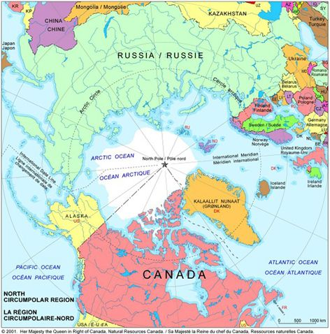 Arctic Ocean Map Canada United States Russian Federation - Arctic ocean on us map