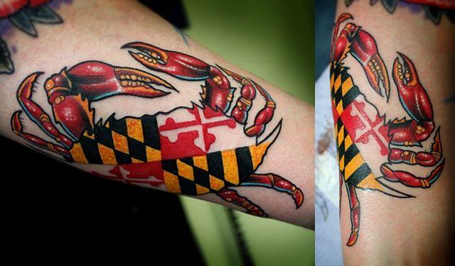 Dave Wah Tattoo Artist Todd S Maryland Crab Tattoo Crab Tattoo Maryland Tattoo Tattoos