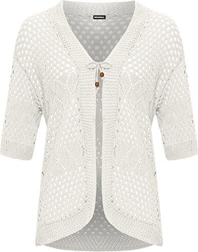 3c3ba87780 Women s Plus Crochet Knitted Open Tied Cardigan Ladies Short Sleeve Shrug  Top
