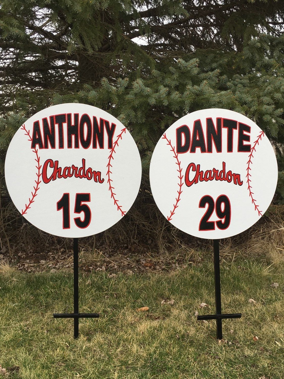 3 Baseball Chardon & 1 Track Custom Personalized Wood Sports Yard Sign