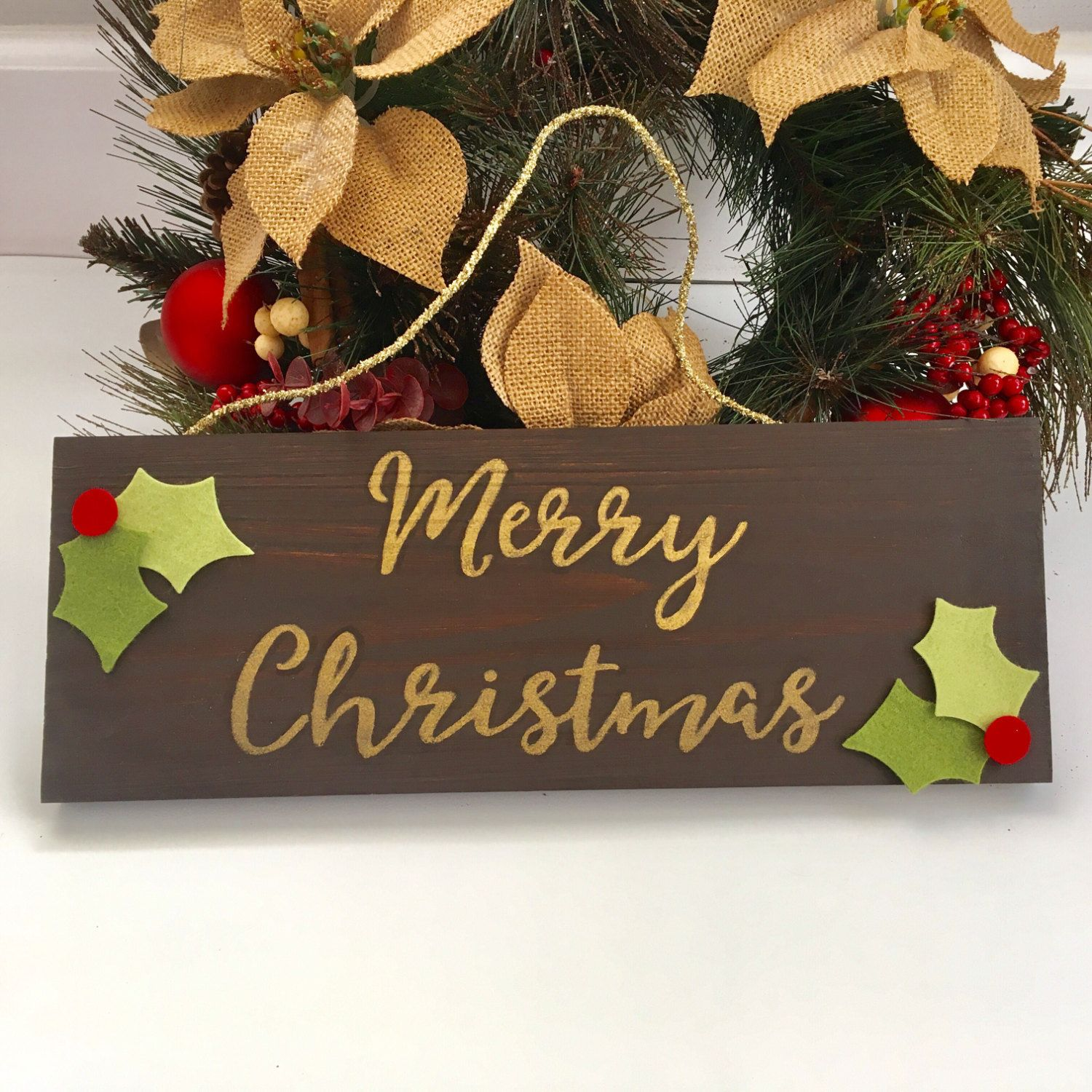 Merry Christmas Wooden Sign Farmhouse Cottage Christmas Wall Decor