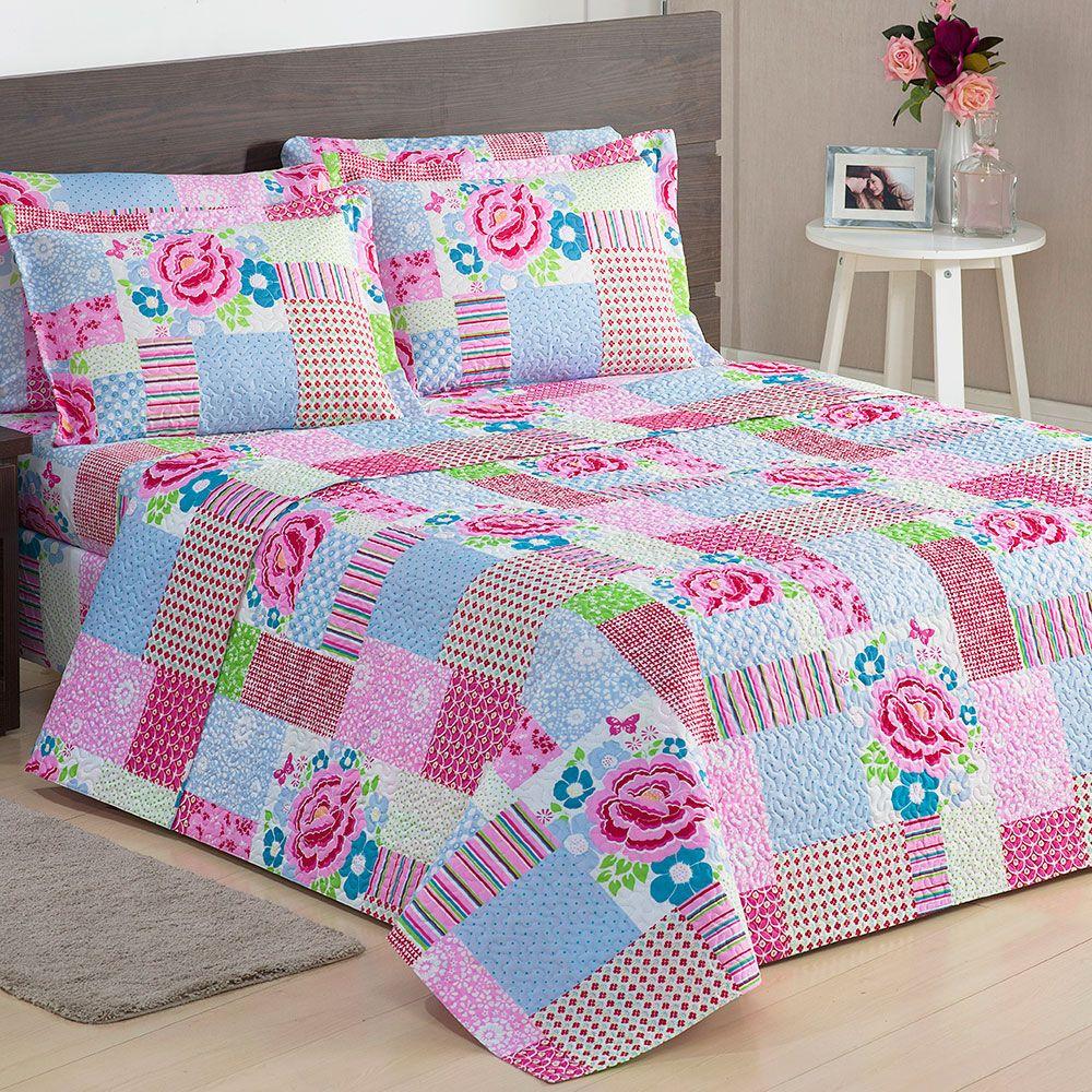 Colcha casal estampa de patchwork porta travesseiros - Colchas de patchwork modernas ...