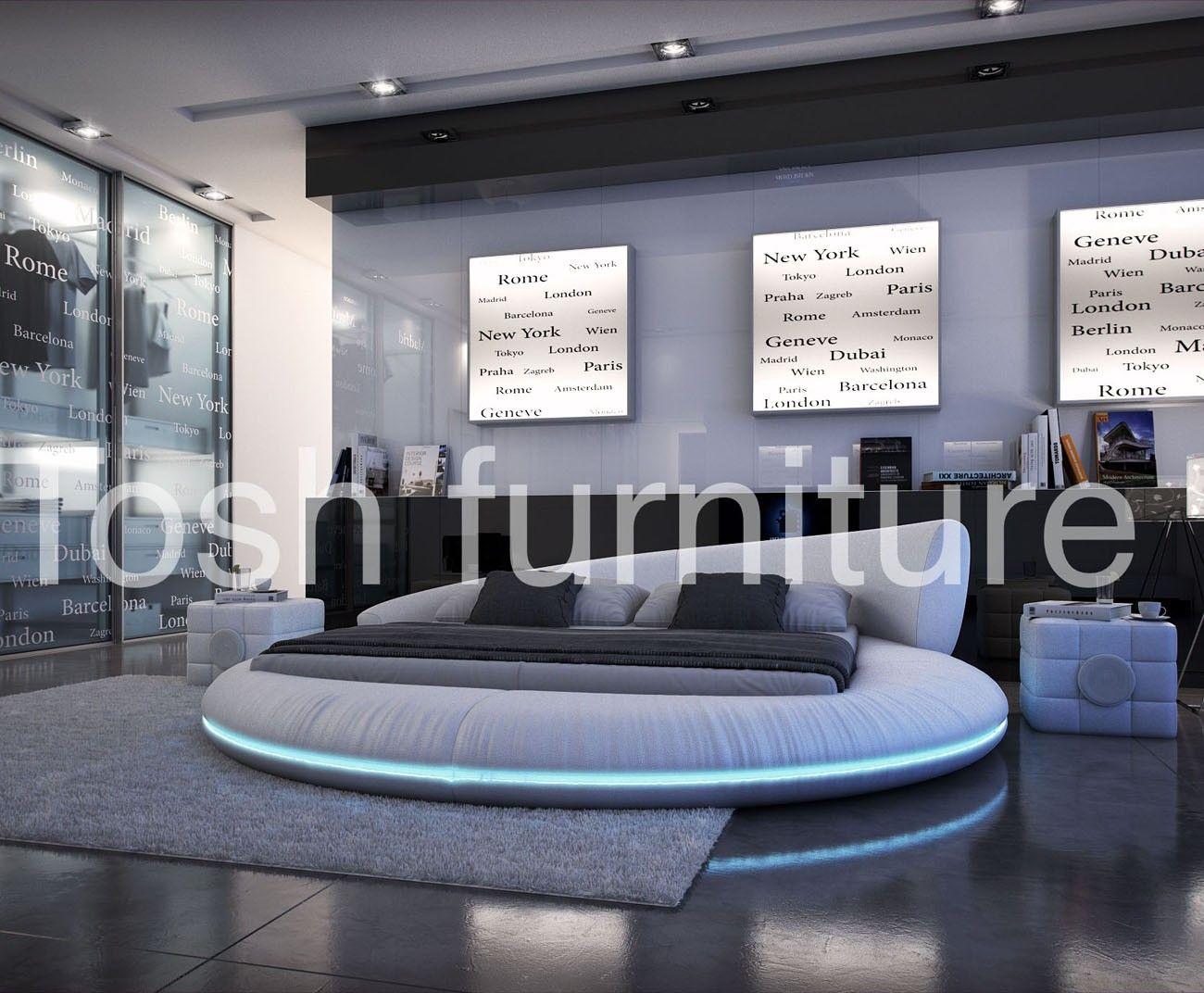 Modern Round LED Platform Bed Home Platform bed