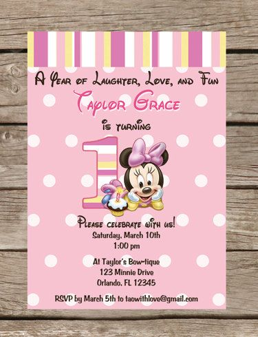 Baby Minnie Mouse First Birthday Invitation By TaowithLove 1200