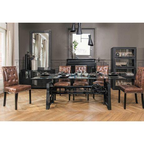 Mesa de comedor de cristal y metal An. 200cm Garibaldi | Maisons du Monde