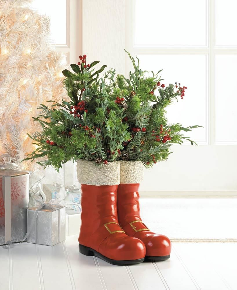 Santa Red Boots Decorative Vase Wholesale At Koehler Home Decor Santa Boots Christmas Boots Vases Decor