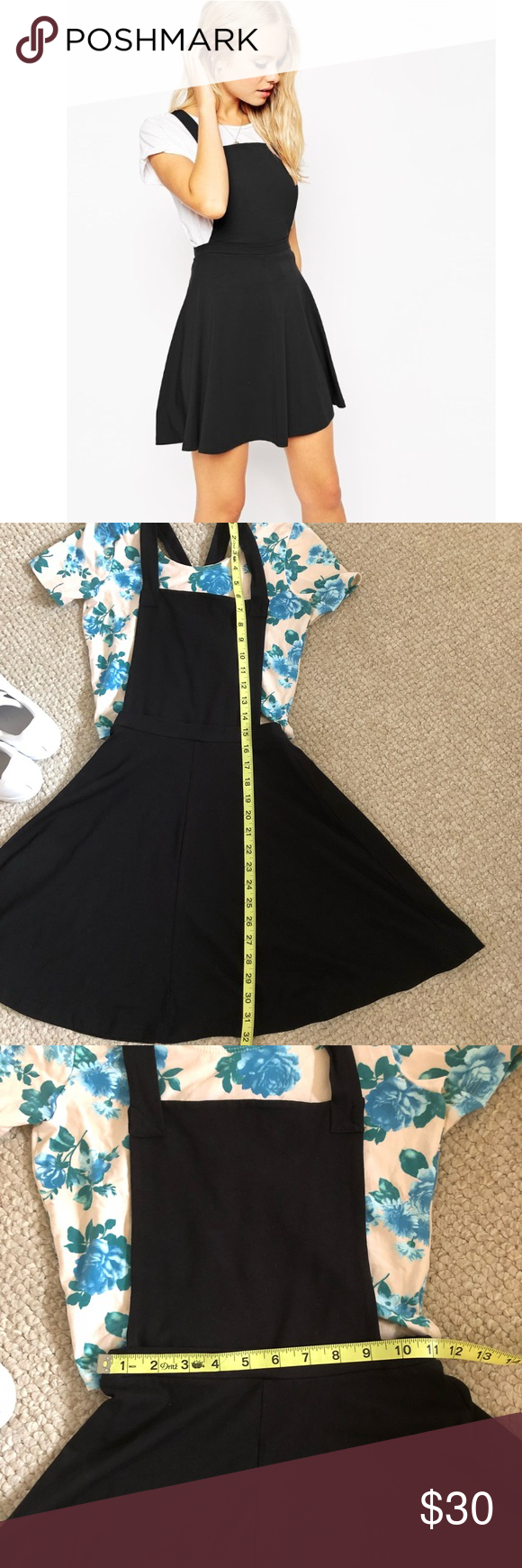fa075d413aa Asos black pinafore dress Jersey feel pinafore dress in black. Has nice  straps that cross in the back. The skirt flares out. Perfect to layer under  a crop ...