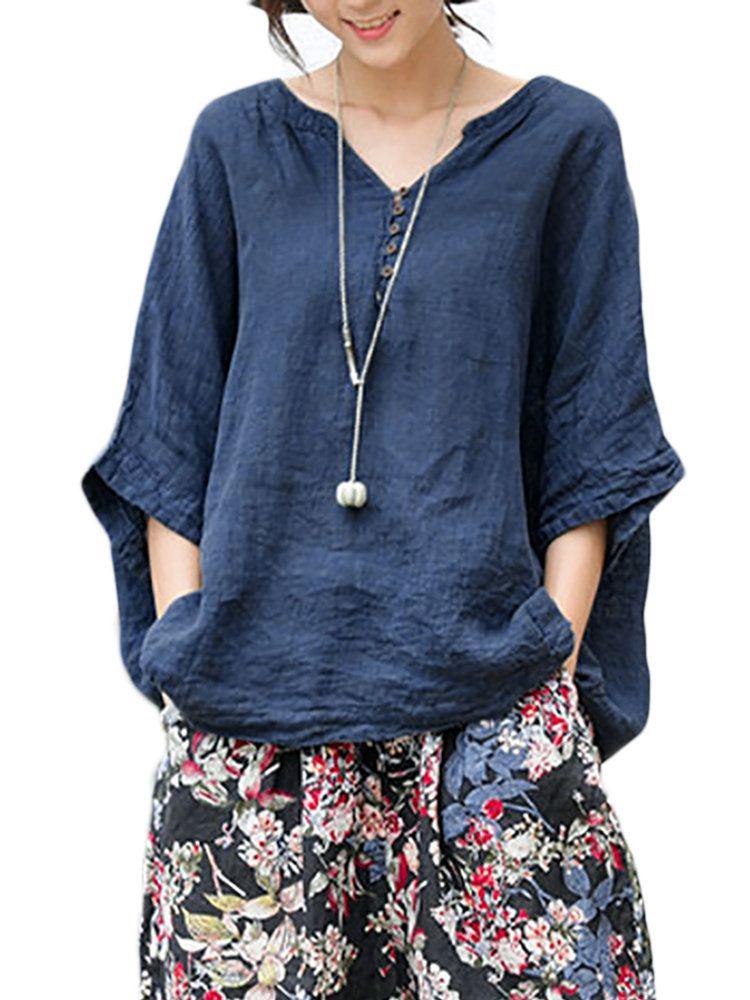 Vintage V-Neck Half Sleeves T-Shirts   Fashion sommer, Oberteile und ... 6e47150d44