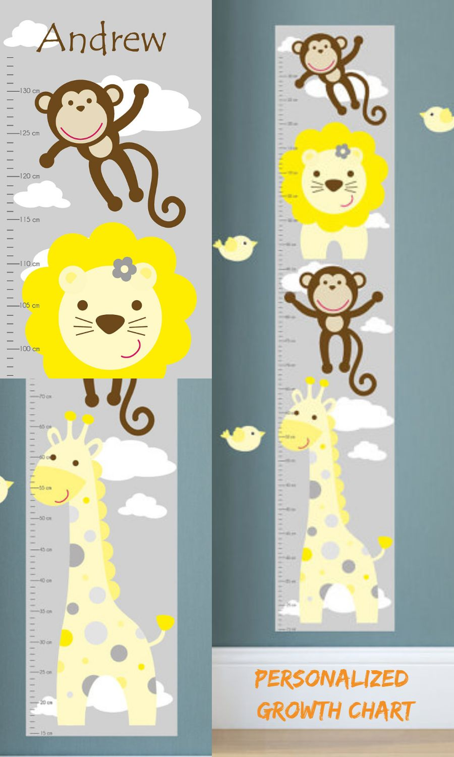 A fantastic and fun way to monitor your little one growing with a fantastic and fun way to monitor your little one growing with our colourful jungle animal growth chart why not personalize it for them nvjuhfo Image collections
