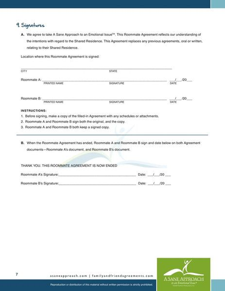 Printable Sample Roommate Agreement Template Form Real Estate - standard employment contract