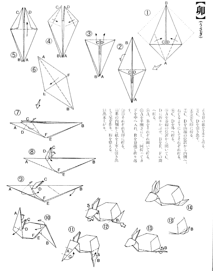 Origami Bunny Rabbit Tutorial Diagram