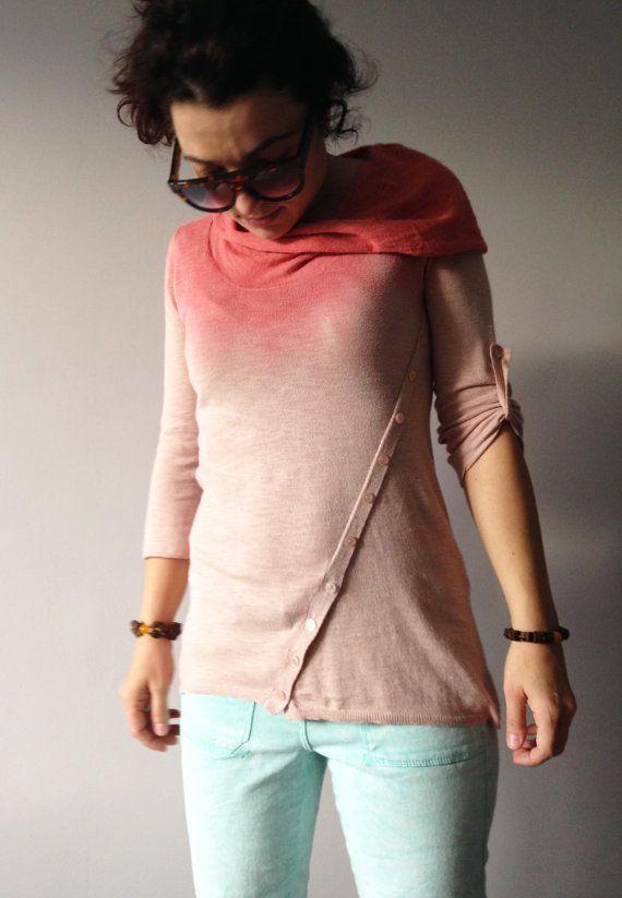 Ombre Peach Polo Neck Sweater Tie Dye Women's by ...