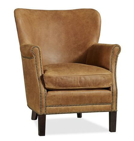 Pottery Barn leather club chair Leather wingback chair